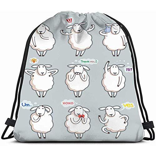 Bolsas personalizadas con cordón, divertidas y bonitas ovejas de animales salvajes, mochila de gimnasio para niñas, bolsa de hombro, bolsa de viaje, regalo de cumpleaños para hija, niños, mujeres