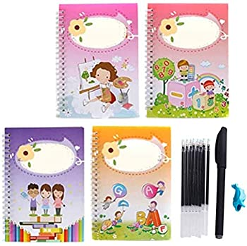 4Pcs Calligraphy Copybook Magic Calligraphy That Can Be Reused Handwriting Copybook Set Calligraphic Letter Writing Practice Workbook for Child Kids