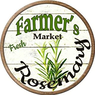 Losea Farmers Market Rosemary Retro Round Metal Tin Sign for Shop Bar Home Wall Decor, 12' Diameter