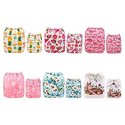 ALVABABY Cloth Diaper, One Size Adjustable Washable Reusable for Baby Girls and Boys 6 Pack with 12 Inserts 6DM41