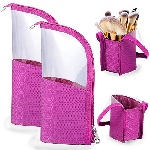 Travel Make-up Brush Cup Holder Organizer Bag 2-Pack, Pencil Pen Case for Desk, Clear Plastic Cosmetic Zipper Pouch, Portable Waterproof Dust-Free Stand-Up Small Toiletry Stationery Bag Divider, Rhodo