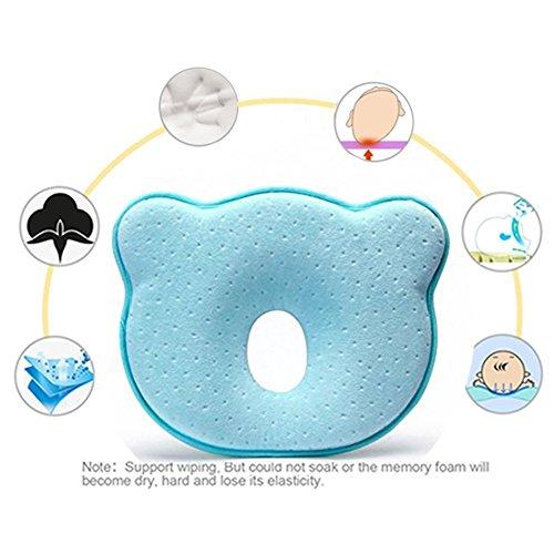 Bebé almohada, EuaTeo bebé cabeza Shaping almohada de espuma de memoria almohada de cabeza plana síndrome Prevención bebé almohada para plagiocefalia azul azul (Azul)
