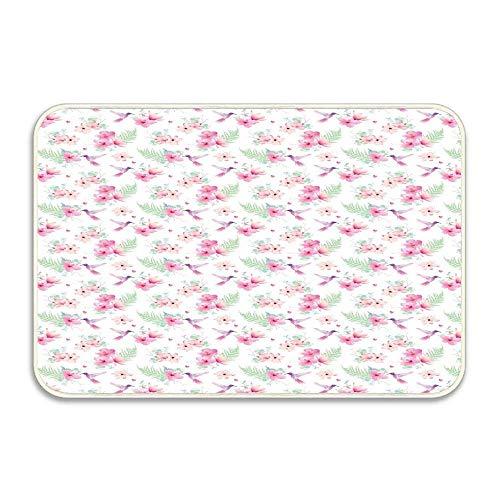 N\A Flappy colibríes Volando sobre delicadas Flores Tropicales de Hibisco y Magnolia Felpudo Piso Alfombra de Entrada de baño Alfombra de baño decoración de Goma Antideslizante