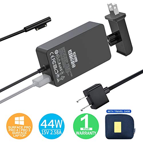 Surface Pro Charger Surface Pro 4 6 Charger, KSW KINGDO 44W 15V 2.58A Power Supply Compatible with Microsoft Surface Pro 3 4 5 6 7 X, Laptop 1/2/3 Surface Go 1/2 & Surface Book with Travel Case