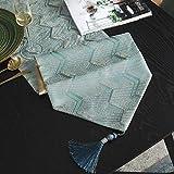 FYSM Tovaglietta da Tavolo Elegante con Nappine Ondulate Ondulate, per La Casa Gli Accessori Decorativi 240x33 cm/Azzurro