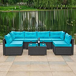 Modern Design:Modern design outdoor sectional sofa with High-quality thickened sponge-filled seat and virgin cotton-filled back cushions give you extra comfort, enjoy your leisure time whatever sitting or lying and the covers can be removed for easy ...