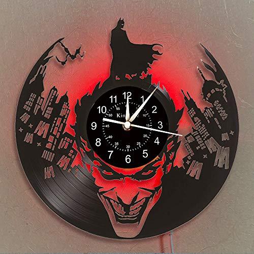 Horloge murale Batman VS Joker en disque vinyle 30,5 cm | Décoration d intérieur Batman Cadeaux pour enfants et amis | Lampe de nuit créative à suspendre 7 couleurs lumineuses (U2-1 avec LED)