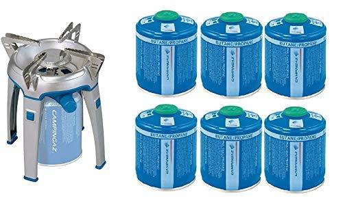 ALTIGASI Bivouac Réchaud à gaz Campingaz, puissance 2600 W, avec sac de transport, système cartouche amovible + 6 cartouches à gaz CV470 de 450 g