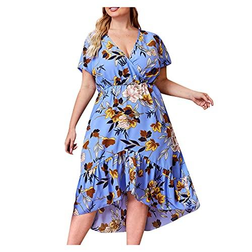 Dames zomerjurk mode dames grote maat bedrukte V-hals jurk met taille onregelmatige rok jurk jurken dames zomer, lichtblauw, 4XL