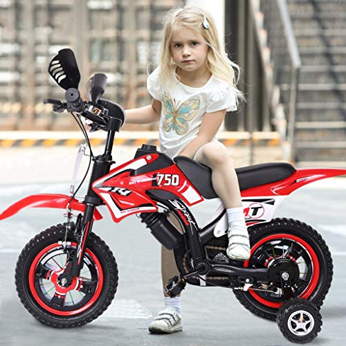 Kids Dirt Balance Bike with Training Wheels - Children Training Bicycle - Toddler Freestyle Beginner Bicycle with Kickstand - 12 Inch Child's Bike for Kids Age 2-5