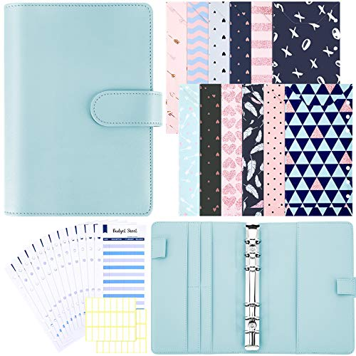 Budget Cash Envelopes System A6 PU Leather Binder Cover 12 Pieces A6 Binder Cash Envelopes 12 Pieces Budget Planner Refills with 2 Sheets White Label Stickers for Planner Organizer (Light Blue)
