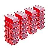 Stapelboxen Set – 20x Stapelbox mit Deckel 155x100x70 mm – Sichtbox Stapelbox Lagerbox, Rot