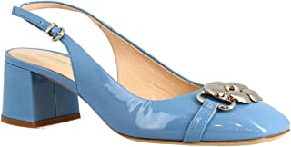 Leonardo Shoes Decoltè Slingback con Tacco da Donna Artigianali in Vernice Blu Oceano - Codice Modello: 4528 Vernice Celeste