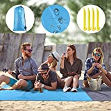 Beach Blanket Sandproof, 83''x79'' Waterproof Beach Tarp Beach Mat Lightweight Picnic Blanket, Sandproof Beach Gear for Travel, Hiking, Sports - with 4 Stakes and Corner Pockets (83''x79'')
