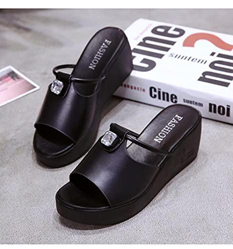 ypyrhh Chaussures de Plage & Piscine Homme,Chers Pantoufles de Loisirs, Pente inférieure épaisse-Le Noir_36,Garçon Tongs Chaussons d'été