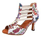 Womens Latin Salsa Dance Shoes 3 Inches Flared Heel Sexy Open Toe Ballroom Party Soft Sole Professional Indoor Dancing Sandals (White, Numeric_9)
