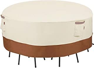 SONGMICS Outdoor Round Patio Table and Chairs Cover 72 Inches, Beige Brown UGTC72M