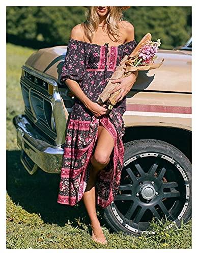 chushi Vestidos de Mujer Hippie Mujeres Multi Floral Estampado Bohemio Vestido De...