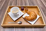 Momex Serviertablett aus Bambus, Holztablett mit Griffen rechteckig zum servieren von Kaffee, Tee,...