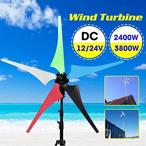YUYUKUAILAI 2400 / 3800W Generador de Viento de turbina 12 / 24V del hogar 5 Palas de aerogeneradores de Viento generador de Referencia del Controlador Accesorios de Montaje, 12v, 2400W,3800W
