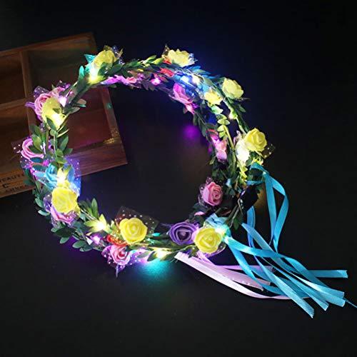 Frcolor Fascia del fiore del LED, fascia per capelli della corona della ghirlanda del fiore della fascia della corona floreale di 4Pcs per la festa nuziale di festival