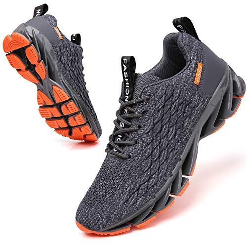 SKDOIUL Jogging Shoes for Men mesh Breathable Comfort Fashion Sport Running Walking Shoes Man Runner Jogging Sneakers Athletic Tennis Trainers All Grey Size 8.5