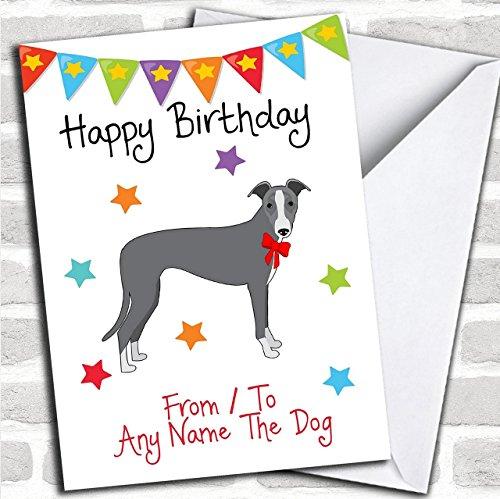 naar van Pet Dog Italiaanse Greyhound Aangepaste Verjaardag Groeten Kaart- Verjaardagskaarten/Huisdier Verjaardagskaarten