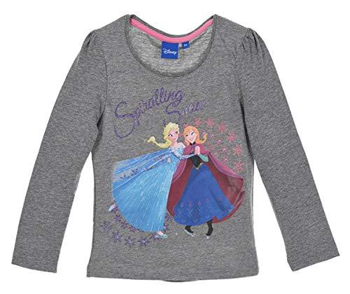 Disney La Reine des Neiges - T-Shirt - Manches Longues - Fille (8 Ans, Gris)