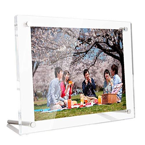 Lapeno Acrylic Cadres Photo, A5(9.6 * 7.3'') Support et Cadre Photo Mural Écran de Bureau avec Emballage de Paquet Cadeau Cadre Photo Transparent de 6 mm d'épaisseur pour mémoire de Bureau à Domicile