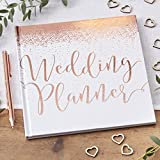 Ginger Ray White & Rose Gold Foiled Wedding Planner Book 46 Pages Beautiful