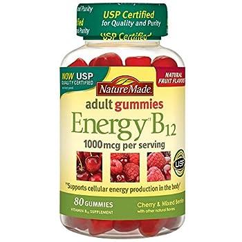 Nature Made Energy B-12 Adult Gummies Cherry & Wild Berries 80 ea Pack of 2