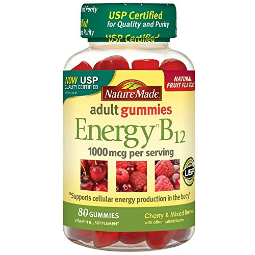Nature Made Energy B-12 Adult Gummies, Cherry & Wild Berries 80 ea(Pack of 2)