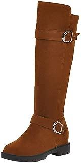 Melady Women Fashion Knee High Boots Low Heels Zipper