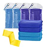 ALIBULL Cooling-Towel-Microfiber-Breathable-Activities Blue (40'x 12') 4 Packs, Ice Towel,Microfiber Towel,Soft Breathable Chilly Towel for Yoga,Sport,Gym,Workout,Camping,Fitness,Running,Workout&More