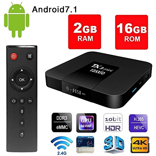 Raxxio TX3 Mini Smart TV Box I Android TV Box 7.1 Update 2GB RAM 16GB ROM Amlogic S905W Quad Core 64 Bits H.264 4K UHD Output for Fast 4K 1080P viewing of Netflix, Youtube and More Apps