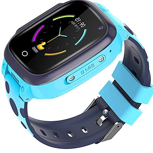 shjjyp Reloj Inteligente NiñO GPS Y Llamadas Sumergible Reloj Inteligente NiñA Ip67 Lbs Hacer Llamada Chat De Voz Sos Modo De Clase Cmara Juegos Regalo para NiñOs De 3-12 AñOs Soporta 4g Sim,Azul