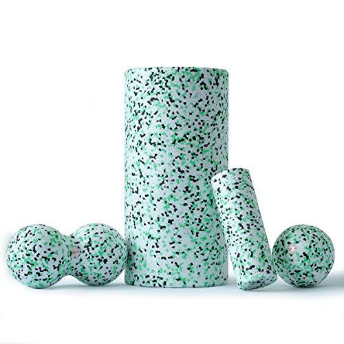 Balance Roll Komplett Set 8 (Große Rolle/Mini Rolle/Ball 8 / Duoball 8) Faszietraining Set (Schwarz Grün Weiß)