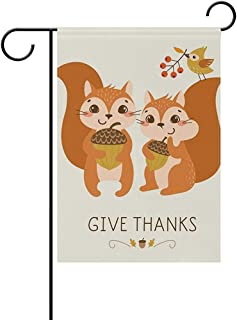 Dweobolufz Funny Squirrels Give Thanks Double Sided Flags House Yard Party Decor for Celebration, Festival Home Outdoor Flag Garden 12x18 Inch