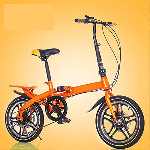 ZEMENG Bicicleta de la Ciudad Plegable, Frenos de Doble Disco y Bicicleta de Velocidad Variable, Bicicletas de Carretera con amortiguadores Traseros para Montar al Aire Libre Unisex,Naranja,16'