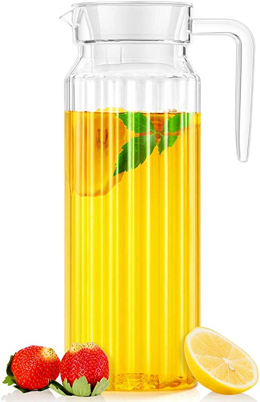 Water Pitcher OCUBE Food Grade Plastic Acrylic Juice Jugs With Lid 1 1 Liters Shatterproof And Heat Resistant Party Pitcher For Water Iced Tea Orange Juice Lemonade Milk And More Beverages Clear