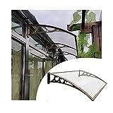 LIANGJUN Tejadillo De Protección Marquesina, Moderno Policarbonato Sun Shetter, Impermeable Durable Puerta Principal Exterior Hojas, Marrón Aluminio Soporte, Tamaño Personalizado