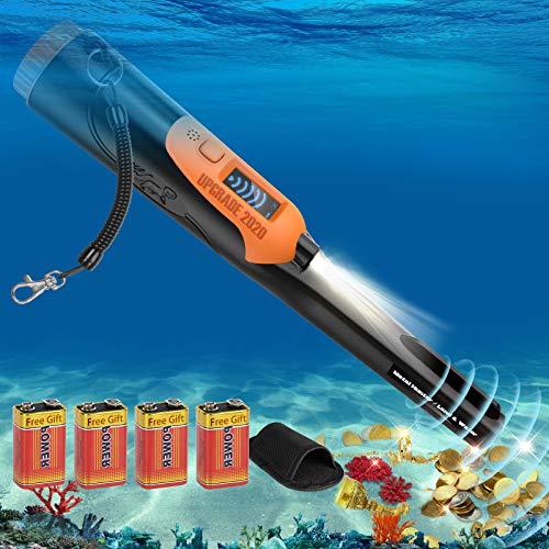 Metalldetektor Pinpointer IP68 Völlig Ganzer Körper Wasserdicht 12 Meter unter Wasser Tragbar Metalldetektoren für Kinder und Erwachsene Sondeln Goldmünze Hunt mit LCD Screen - Schwarz Orange