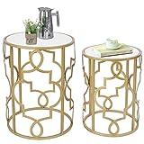 Amazon Brand - Umi Set 2 Mesa Auxiliar Redondas Mesas Nido Mesas de café con Tapa de Madera Blanca, 42 x 56 cm y 35 x...
