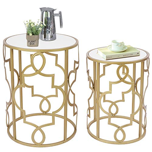 Amazon Brand - Umi 2er Set Beistelltisch Satztische Sofatisch Kaffeetisch mit Weiß Holzplatte für Wohnzimmer, Schlafzimmer (Gold)