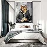 N / A Pintura sin Marco Modern Wolf Pop Culture Wall Art Canvas Wall Wolf Street Office Art Deco ZGQ7508 30x37cm