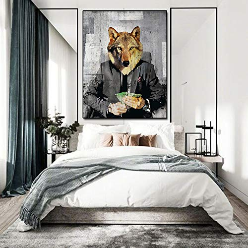 sanzangtang Leinwandbild Wolf Moderne Popkultur Leinwand Wandkunst Rahmenlos 40x50cm