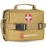 SURVIVEWARE Survival First Aid Kit, Removable MOLLE Compatible System, Emergency Bag for Camping,...