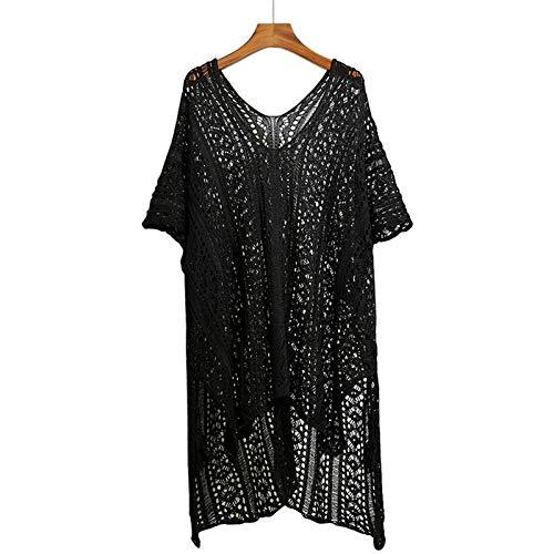 Cxypeng Mujer Pareos Playa Traje de Baño Verano,Blusa Calada de Punto Extragrande, Vestido Suelto de Playa de protección Solar de Longitud Media,Camisola de Playa Túnica de Punto
