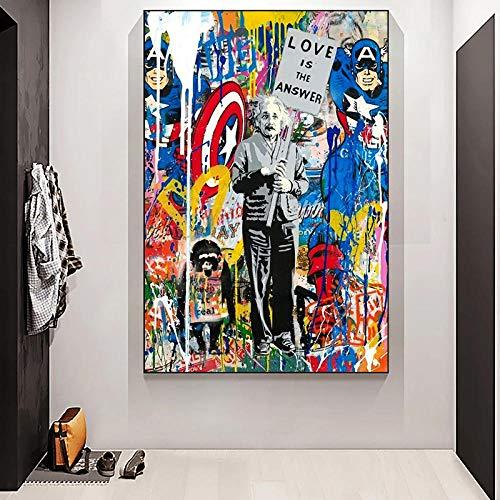 ZLARGEW Graffiti Banksy Art Love ist Antwort Leinwand Malerei Street Pop Art Poster und Drucke Wandkunst Bild für Wohnzimmer Home Decor - 50x70cm No Frame