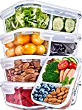 Glass Meal Prep Containers 2 Compartment Meal Prep Containers Glass ( 36 Ounce, 5 Pack) - Glass Food Prep Containers Glass Divided Lunch Containers Glass Lunch Containers with Lids Glass Containers